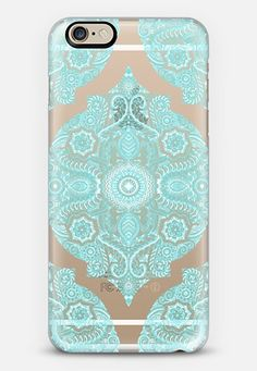 Moroccan Lace - white & turquoise pattern on transparent iPhone 6 case by Micklyn Le Feuvre | Casetify