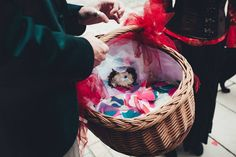 Panier décoré pour le lancer de confettis