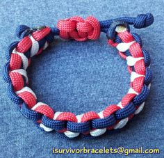 Hash style bracelet adjustable in red white and midnight blue 8