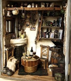 Miniatures for an old fashioned dollhouse cottage.