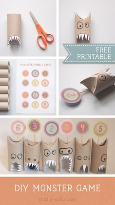 Toilet roll crafts for kids: make a monster birthday party game with marbles - creative and fun! #toiletpaperroll #monster #birthdayparty #toiletrollcraftideas #kidscraft