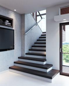 BR Residence - Belmont CA (prerelease) Stairs Tiles Design, Stair Railing Design, Home Stairs Design, Casa Loft, Balustrades, Building Stairs, Modern Stairs, Bungalow House Design, House Stairs