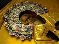 Antique Russian Icon of St. John Chrysostom (golden mouthed) known in the Russian Orthodox Church as Ioan Zlatoust, archbishop of Constantinople, was an im