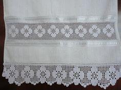 ♥ Filet Crochet Flower Edging & Insert with Ribbon