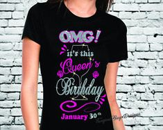 Birthday gifts bling ideas for 2019 It's My Birthday Shirt, 40th Birthday Quotes, Moms 50th Birthday, Bling Shirts, Tee Shirts, Tees, Retirement Gifts For Men, Birthday Design, Shirts With Sayings