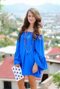 Royal blue off-shoulder dress