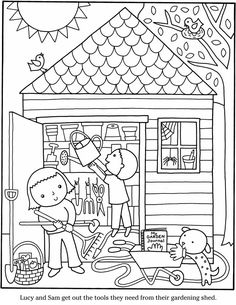 Coloring for kids, garden coloring pages, adult coloring pages, free Garden Coloring Pages, House Colouring Pages, Coloring Book Pages, Coloring Sheets, Free Adult Coloring, Coloring Pages For Kids, Dover Publications, House Drawing, Color Activities