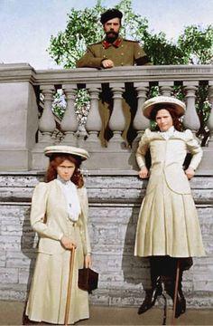 Grand Duchess Olga Romanov, Tsar Nicholas Romanov II, and Grand Duchess Tatiana Romanov