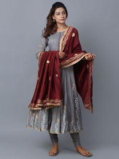 Grey Maroon Foil Printed Cotton Chanderi Anarkali Suit - Set of 3 Designer Punjabi Suits, Designer Anarkali, Indian Designer Wear, Cotton Anarkali, Anarkali Suits, Anarkali Gown, Anarkali Dress, Gown Dress, Indian Dresses