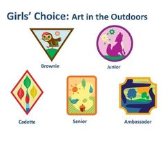 Girls' Choice Badges: Art in the Outdoors requirements are out! Here are the download links: Ambassador Outdoor Art Master Senior Outdoor Art Expert Cadette Outdoor Art Apprentice Junior Outd…