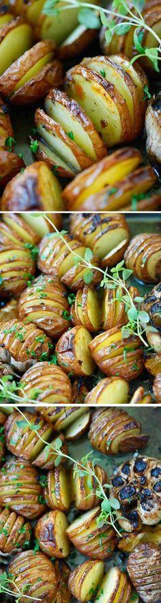 Garlic Herb Roasted Potatoes - butter, garlic, healthy, lemon, parsley, potato, recipes