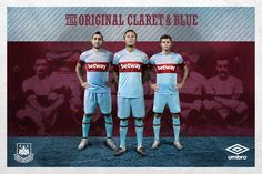West Ham United have unveiled their new Umbro away kit for the final season at the Boleyn Ground. Football Kits, Football Jerseys, Football Fashion, West Ham, Sport Fashion, Product Launch, Baseball Cards, The Originals, Sports