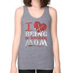 I love being hockey mom Unisex Fine Jersey Tank (on woman)