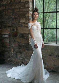 Sincerity Bridal Wedding Dresses, Stunning Wedding Dresses, Dream Wedding Dresses, Designer Wedding Dresses, Bridal Gowns, Wedding Gowns, Modest Wedding, Spanish Lace Wedding Dress, Mermaid Wedding Dress With Sleeves