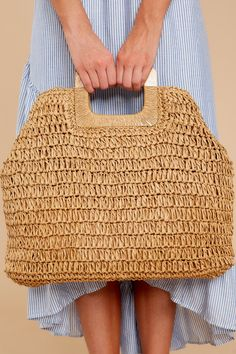 "New Cheap Bags. The location where building and construction meets style, beaded crochet is the act of using beads to decorate crocheted products. ""Crochet"" is derived fro Diy Purse, Straw Tote, Crochet Purses, Crochet Bags, Brown Bags, Knitted Bags, Bead Crochet, Baby Knitting Patterns, Free Knitting"