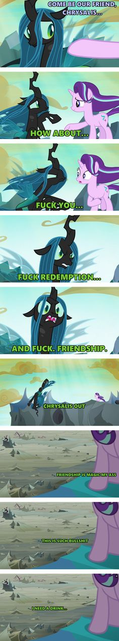 Insulting an already shitty show with a jerk character that says friendship is magic is BS best thing ever!!!