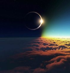Amazing view of a solar eclipse from above the clouds