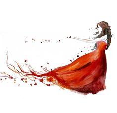 Love Autumn Woman ART PRINT 12X16 original watercolor by PortLove, $35.00