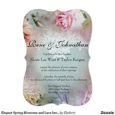 Elegant Spring Blossoms and Lace Invitation Lace Invitations, Elegant Wedding Invitations, Spring Blossom, Blossoms, Marriage, Weddings, Valentines Day Weddings, Flowers, Bodas