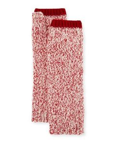 D1BTF Sofia Cashmere Marled Cashmere Fingerless Gloves/Arm Warmers, Red