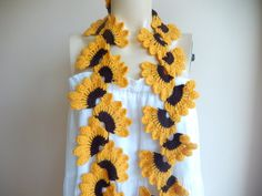 Mustard Crochet  Scarf  Lace  Long ScarfMustard and by dreamhouse1, $33.00