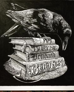 Bury Me Beneath Books, ink & gouache on Bristol, 📖📖📖 Graphic Design Illustration, Illustration Art, Art Illustrations, Vampire Pictures, Dark Drawings, Raven Art, Vampire Books, Bird Skull, A Level Art