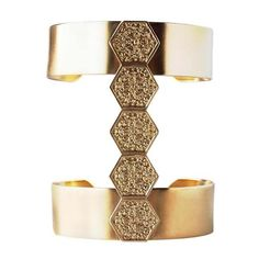 Annachich Architectural Jewelry Wideband 5-Hex Cuff ($286) ❤ liked on Polyvore featuring jewelry, bracelets, 14k bangle, polish jewelry, 14 karat gold jewelry, 14k jewelry and cuff bangle