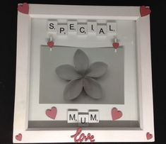 """White wooden scrabble letters saying """"Special Mum"""" with hand painted wooden hearts & love word. With two wooden heart pegs to hold a inch photo. The frames are white, wooden inches. Scrabble Letters, Mothers Day Presents, Wooden Hearts, Love Words, Gift Guide, Frames, Hand Painted, Personalized Items, Words Of Love"""