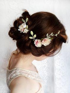 cream flower hair pins, mauve pink bridal accessories, ivory wedding hair flower…
