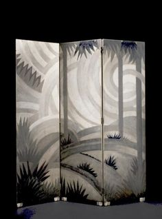 Jean Dunand THREE-PANEL SCREEN  incised JEAN DUNAND  lacquered wood and metal  80 7/8 x 23 5/8 in. (205.4 x 60 cm) for each panel ca. 1923