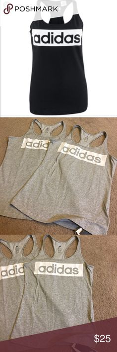 NEW!! what's in right now it's ADIDAS SPORTY STYLE The in right now ADIDAS the super soft tanks can be your dress up or down day they are a great length and super trendy right now and these are so hard to find with this style print. Please ask any questions before buying boutique items have a no return policy. Adidas Tops Tank Tops