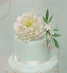 Peony and lace - CakesDecor