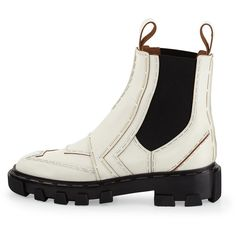 Balenciaga Stapled Leather Chelsea Boot (97.165 RUB) ❤ liked on Polyvore featuring shoes, boots, ankle booties, real leather boots, white leather boots, leather boots, balenciaga booties and chelsea bootie