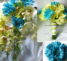 Wedding, Bridal, Flower, Aqua, Turquoise, Natural, Lime, Touch