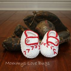 Baseball Crochet Booties  For a Girl or a Boy  by MommysLoveBugs, $17.00
