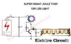 Joule thief to led light circuit super hemat Solar Panel Battery, Solar Panel Kits, Solar Panel System, Panel Systems, Diy Electronics, Electronics Projects, Joule Thief, Basic Electrical Wiring, 12v Led Lights