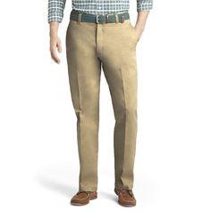 Men's IZOD Classic-Fit Saltwater Flat-Front Pants, Size: 40X32, Med Beige