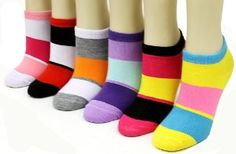 Classic Colorblock Striped Ankle Socks (6 pack) - Womens Low Cut Socks (Size 9-11) . $12.99. Bright and bold, these classic block striped sock add some flare to your wardrobe. Spandex band around the ankles ensure no slip protection. Comes in assorted colors, package includes 6 pairs.  95% polyester, 5% spandex