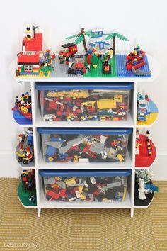 DIY Upcycled toy storage unit and LEGO play table Step-by-step DIY upcycled toy storage shelving unit and play table for LEGO, Duplo, Playmobil, Megablox and more! Toy Storage Shelves, Lego Table With Storage, Baby Toy Storage, Lego Storage, Kids Storage, Storage Ideas, Shelving Units, Diy Shelving, Storage Baskets