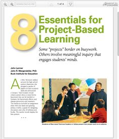 The 8 Essential Elements of Project Based Learning ~ Educational Technology and Mobile Learning
