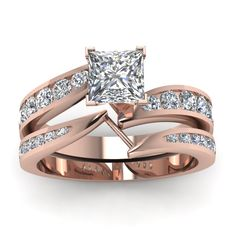 Preset Crossover 1.25 Ct. Princess Cut Channel Wedding Set Engagement Rings with Diamonds in 18K Rose Gold exclusively styled by Fascinating Diamonds
