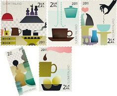 """Finnish stamp celebrating 100 years anniversary of Kaj Franck Graphic Design Typography, Graphic Art, Folder, Art Postal, Postage Stamp Art, Mail Art, Stamp Collecting, Finland, Illustrators"