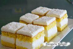 Prajitura alba cu crema de lapte Romanian Desserts, Cake Recipes, Dessert Recipes, Cornbread, Feta, Smoothies, Sweet Treats, Cheesecake, Food And Drink