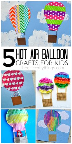 Here are 5 awesome hot air balloon crafts for kids. With such a wide array of crafting materials, you are sure to find something you love! Great summer kids crafts, preschool crafts, crafts for prek and spring kids crafts.