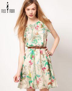 Multicolor Round Neck Floral Chiffon Dress