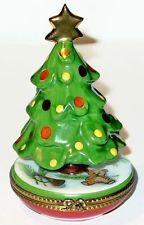 LIMOGES BOX - CHRISTMAS TREE & GOLD STAR - TOYS - DRUM & HORN & TEDDY BEAR