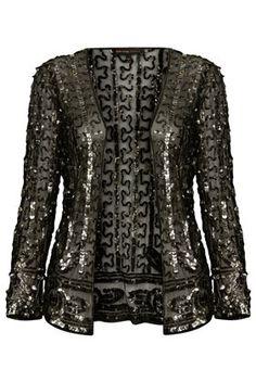 **Sequin Embellished Mesh Jacket by Kate Moss for Topshop