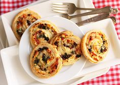 Three cheese stuffed pinwheels.  Make with cresent rolls instead of puff pastry