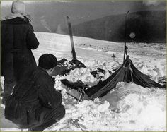 The Dyatlov Pass Incident - Finally, on February 26, 1959, the exhibition party was discovered. Their camp was abandoned and their tent had been ripped apart from the inside out.  Some of the bodies of the hikers were found strewn across the slope a short distance away.Others were found farther away, buried beneath the snow in a ravine.
