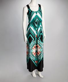 Take a look at this Black & Green Floral Sleeveless Maxi Dress by Bailey Blue on #zulily today!
